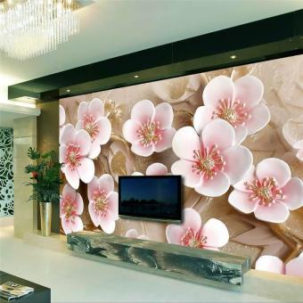 Eco-friendly Custom Eco-friendly 3D photo wallpaper silk clothwallpaper Winter pink plum blossom living room modern decorativepainting 3d large mural wallpaper - intl