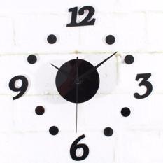 Eigia Jam Dinding DIY Acrylic Diameter 30-50cm Wall Clock Giant Unik Hiasan Dekorasi Interior Rumah Manual Silent Sweeping Movement Tidak Bersuara Penghias Tembok Ruangan Besar AA Battery Water and Steam Resistant Awet - Hitam