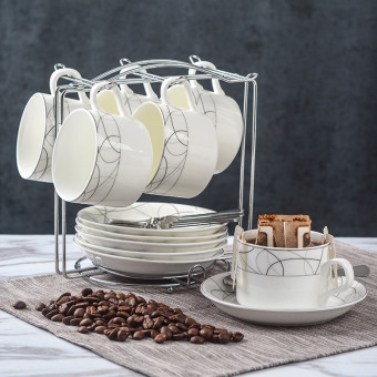 Empat fu sederhana Potong hidangan rak sendok keramik cangkir