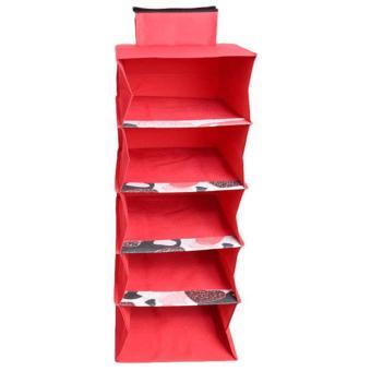 harga EMWE WO Wardrobe Organizer rak Tempat menyimpan pakaian baju gantung dalam almari lemari hanging clothes organizer - Merah Lazada.co.id