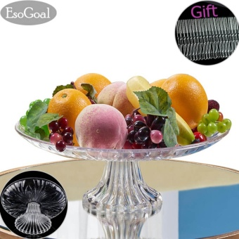 Harga EsoGoal Acrylic Plate for Fruits Cakes Desserts Candy Buffet Stand for Home & Party with Free 50pcs Fruit Forks - intl