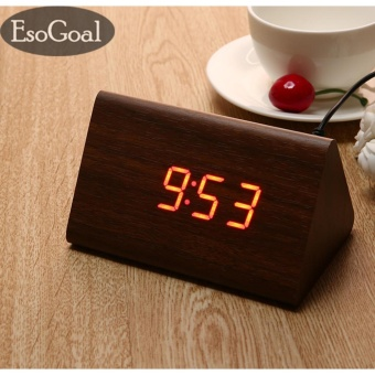 Harga EsoGoal power Multi-function Wooden LED Alarm Clock with Temperature display ,Triple intelligent alarm, Sound-control screen - intl