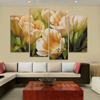 harga Fashion 4 Panel dinding seni lukisan cat minyak lukisan bunga tulipdi kanvas cetak lukisan dekorasi untuk ruang tamu gambar H109 Lazada.co.id