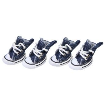 Fashion anjing peliharaan anak olahraga sepatu Boots kain kanvasbiru tua no, 3