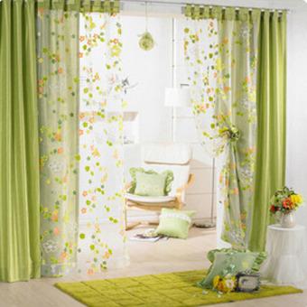 Bunga Bunga Tirai Jendela Pintu Panel Syal Voile Tirai Kamar Pembagi Layar