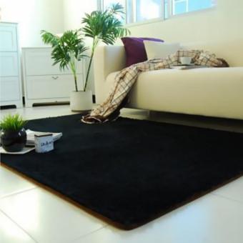harga Fluffy anti-selip Shaggy Area karpet Yoga karpet rumah kamar tidur lantai ruang makan Mat hitam - intl Lazada.co.id