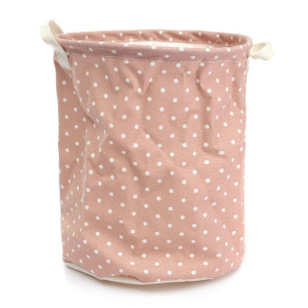 Foldable Cotton Linen Washing Clothes Laundry Basket Sorter Bag Hamper Storage Pink - Intl