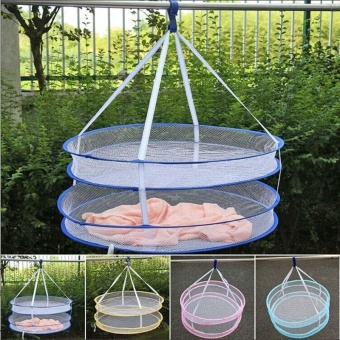 Foldable Popup Mesh Net Basket Double Layer Hanging Dry Rack forClothes Laundry - intl