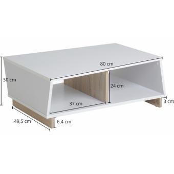 FUNIKA REGINA Coffee Table - White and Sonoma OAK - 2