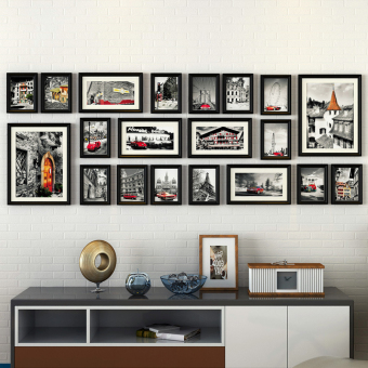 Gantungan Dinding Ruang Tamu Kombinasi Latar Belakang Foto