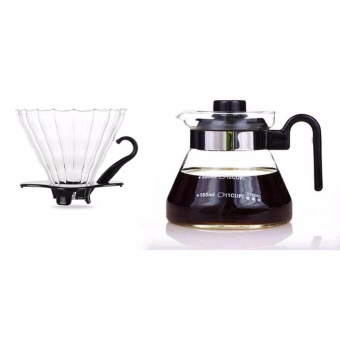 Glass Coffee Dripper and Pot Set (Black) For Hario V60 - intl