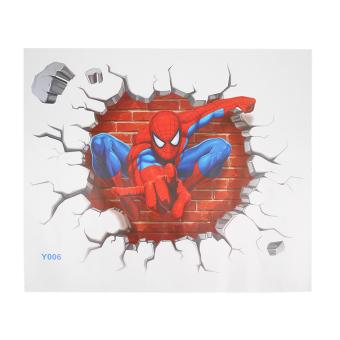 Baik Dekorasi Kamar Anak Wall Sticker 3D Pria Spider Webs Hadiah Lukisan Dinding Stiker Kamar Anak