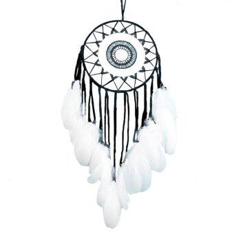 Goose Feather Lace Dream Catcher Wall Hanging Home Mobil Decor (Hitam)-Intl