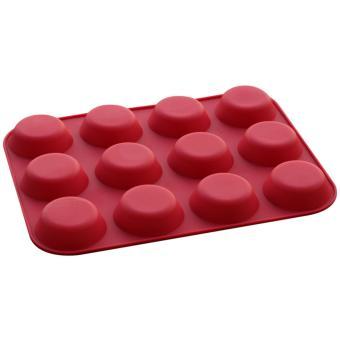 Griya Cetakan Cetakan Sabun / Kue Silikon Round Cupcake 12 cav -Red