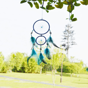 Handmade Dream Catcher with Feather Decoration Blue Bedroom GiftDreamlike