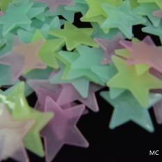 Hequ 100 buah/banyak bersinar in the dark bintang plastik stiker dinding anak bayi di langit-langit kamar berwarna-warna