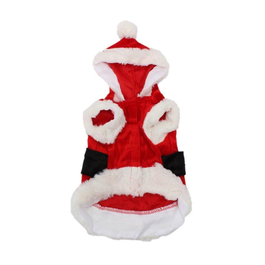 Hewan Peliharaan Anak Kucing Anjing Pakaian Sinterklas Natal Kostum Baju Mantel Kerudung Lucky S