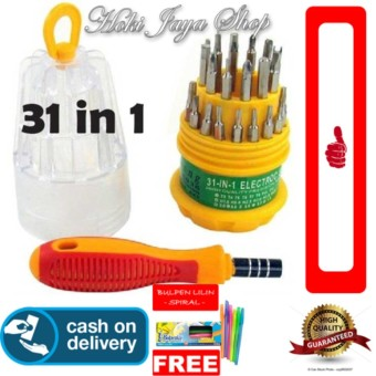HOKI COD - Obeng Set Multifungsi 31 in 1 JK-6038 - Precision Screwdriver Professional Repair Tool Kit + Gratis Pulpen Lilin Unik Serba Guna Hitam Pekat - 1 Pcs