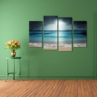 Home wallpaper 4 Piece Home Decor Oil Painting Beautiful Sea Landscape Pictures Printed on Canvas Wall Art 11013 - intl