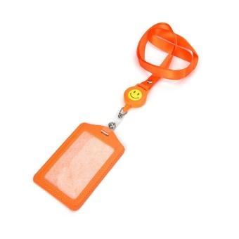 ID Name Card Holder Badge Retractable Reel Recoil ID Badge LanyardBelt Clip Orange - intl
