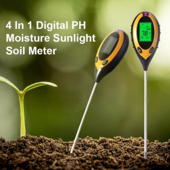 Harga 4 in 1 LCD Professional Soil PH Moisture Sunlight Temperature Tester Meter - intl