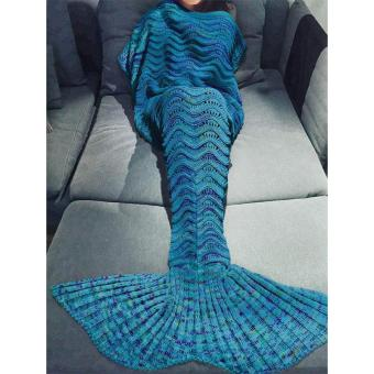 Harga MOON STORE 180X90CM hollow corrugated blanket Mermaid (blue) - intl