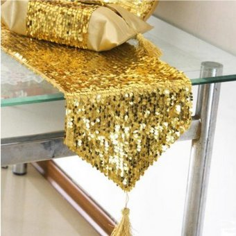 12x108inch Gold Sequin Table Runner Wedding Party Decorations Table Decoration - intl