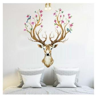 Harga 3D Plum flower deer Wall Stickers For kids rooms living room bedroom Home Decor DIY Decoration PVC Removable Waterproof - intl