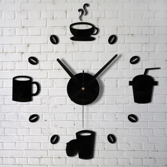Harga Yika Plastic Combining DIY Mirror Cup Wall Clock Sticker (Black)