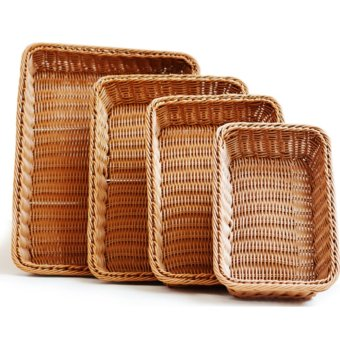 Harga Rectangle Bread Rattan Basket Food fruit Basket(M) - intl