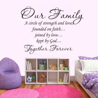 45*60cm Black Wall Decal Sticker Quote Vinyl Art Our Family Is A Circle of Strength and Love DIY Home Decor