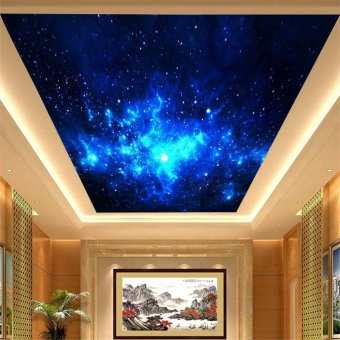 Sky ceiling mural of 3D stereo vision living room TV background wall ceiling wall-papers to the stars of the universe, Korea paper/non,woven mosaic - intl