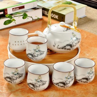 Harga China Ceramic Chinese Porcelain Kung Fu Tea Set with Tea Tray, Jingdezhen Ceramic Large Tea Pot, 8-pack(Shepherd Boy) - intl