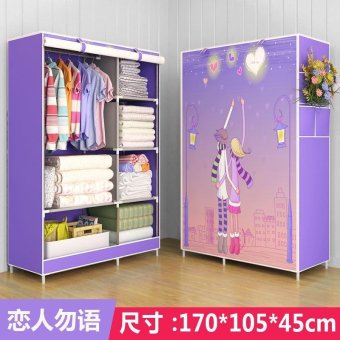 Harga One Piece Roll Up Curtain Clothes Design Wardrobe Home Furniture (style: Lover, color: Purple) - intl