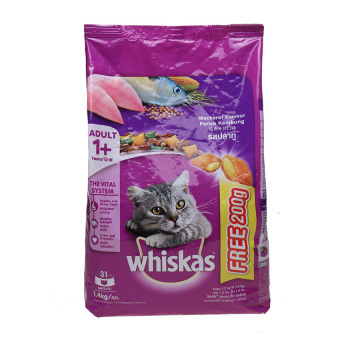 Harga Whiskas Adult Mackerel 1.2 Kg + Free 200gr