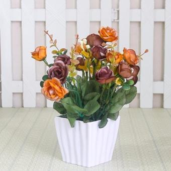 Buket Bunga Mawar Vas Melamin Putih Murah