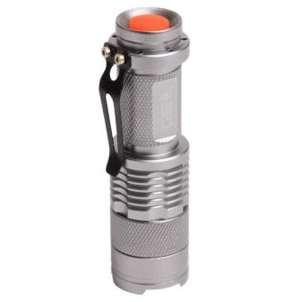 Harga Hang-Qiao Mini LED Flashlight Torch CREE Q5 Adjustable Focus Zoom Light (Silver)