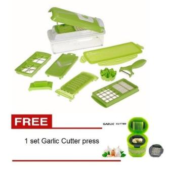 Harga MJstore - Nicer Dicer Set Pemotong - High Quality Grade A - Hijau + FREE 1 set Garlic Cutter Press