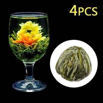 4 Pcs Handmade Blooming Flower Green Tea Ball Art Home Decor - intl