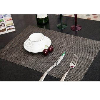 Sales PVC Quick-drying Placemats Insulation Mats Coasters Kitchen/Dining Table Black - Intl