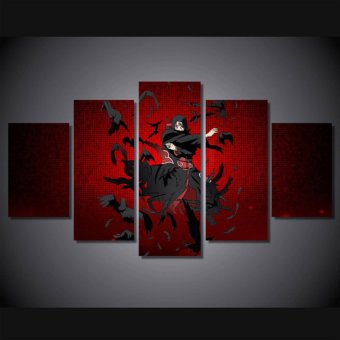 Harga New Anime Naruto Uchiha Itachi Canvas Painting Wall art HD Printed Poster For Kids room 5 Pieces No frame - intl
