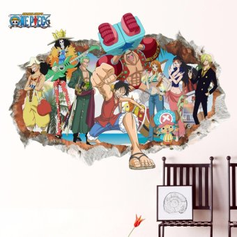 Harga 3D One Piece Anime Luffy Mural Wall Decal Removable Sticker Children's room Decor - intl