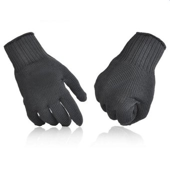 Harga Five Stainless Steel Wire Cut Resistant Finger Gloves (Black)