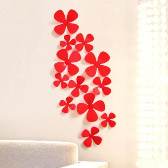 Harga 12Pcs 3D Acrylic Clover Wall Stickers for Home Decoration - intl