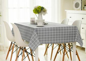 "Harga Rectangle Cotton Tablecloth Fabric 45.2"" x 63"" Linen Check Tablecover Table Cloth for"