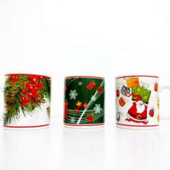 Harga Glass Mug Christmas 3 design