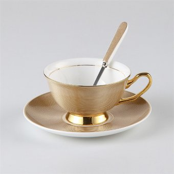 Harga Bone Gold Coffee Cup And Saucer Ceramic Tea Mug Tray Set Advanced Porcelain Mug Drinkware For Gift Teatime - intl