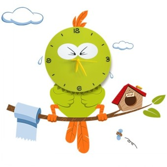 OLC Wall Clock Bird - Green