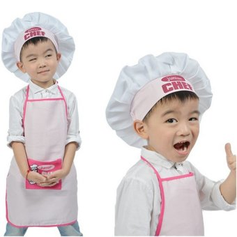 Harga Junior Chef Polyester Kids Apron and Chef Hat Child Cooking Baby Apron Avental de Cozinha Divertido Pinafore Apron Pink - intl