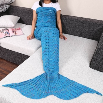Harga GETEK Mermaid Tail Knitted Wave Blanket 95 x 210cm (#6) - intl